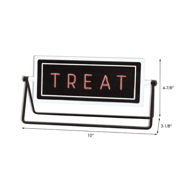 The Holiday Aisle Trick Treat Metal Rotating Tabletop Holiday Sign Wayfair