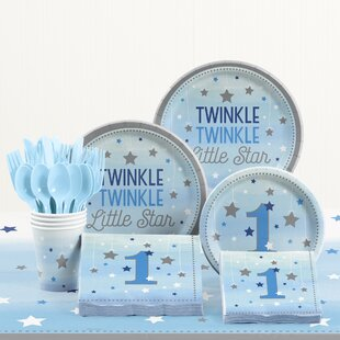 81 Piece One Little Star Boy 1st Birthday Plastic/Paper Tableware Set
