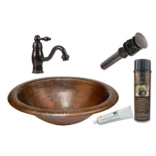 Premier Copper Products Wide Rim Metal Oval Drop-In Bathroom Sink with Faucet