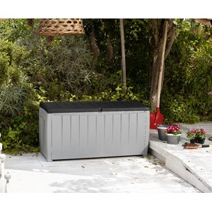 Keter Novel 90 Gallons Gallon Water Resistant Resin Lockable Deck Box in Black/Gray