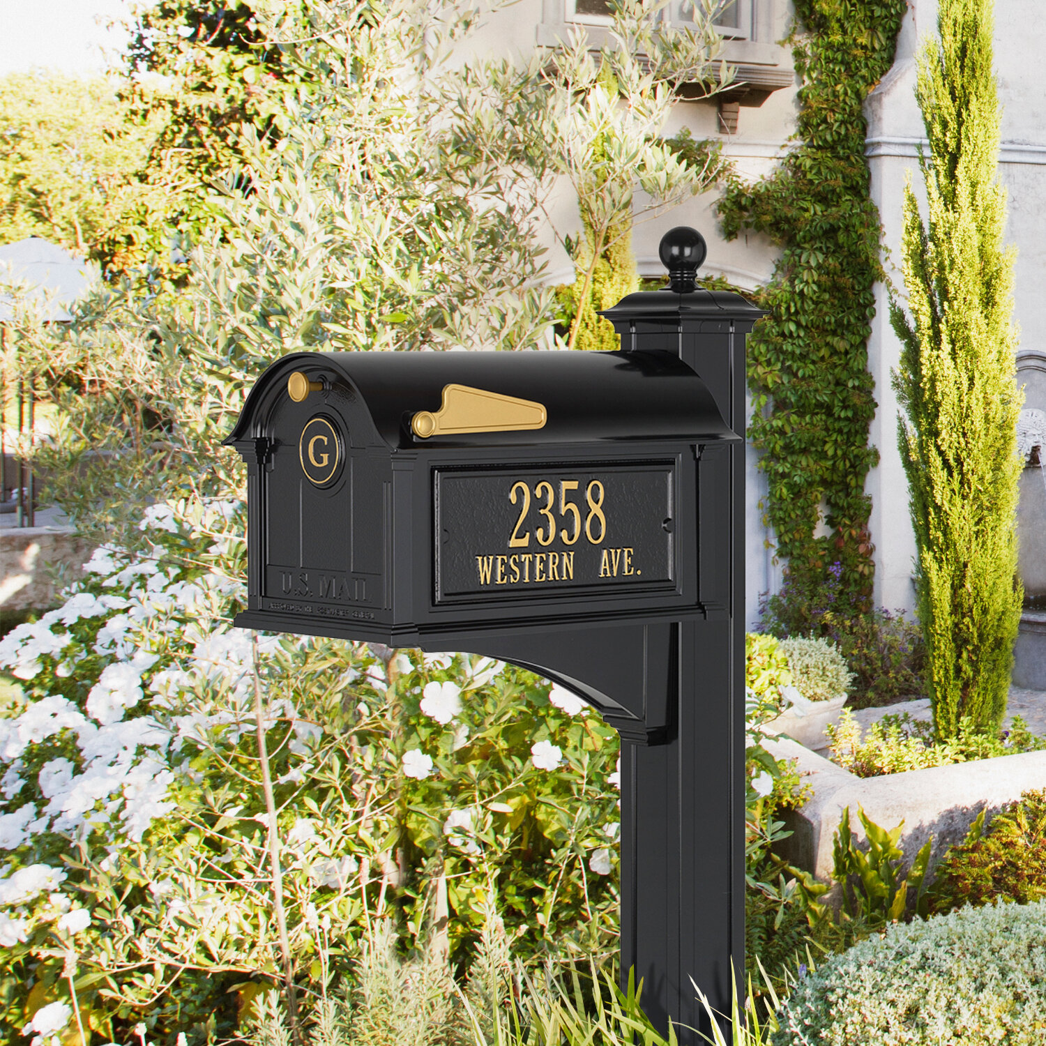 Small 11 h x 7 w Inches Rustic Style White Post MailBox Wall Mounted Design