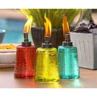 TIKI Brand Glass Tabletop torch (Set of 3)