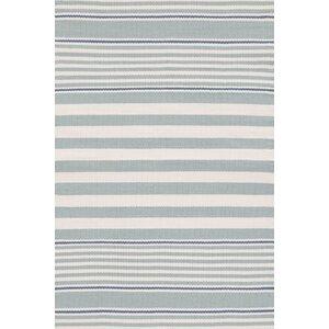 Rugby Stripe Hand Woven Gray Indoor/Outdoor Area Rug