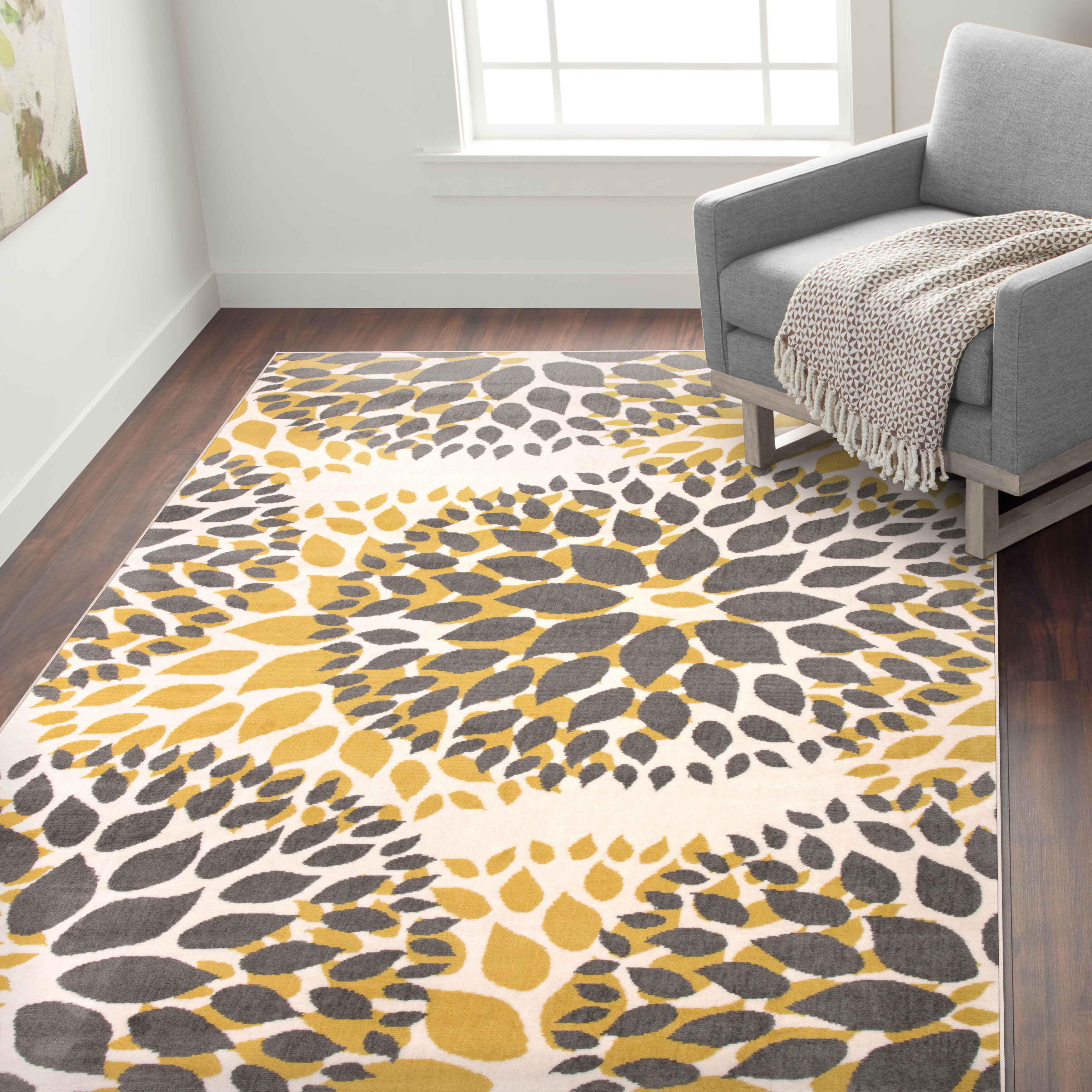 Andover Mills Regner Power Loom Yellow Black Rug Reviews Wayfair