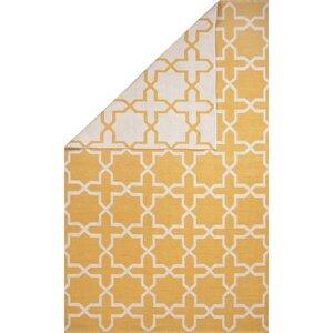 Heathrow Cotton Flat Weave Yellow/White Area Rug