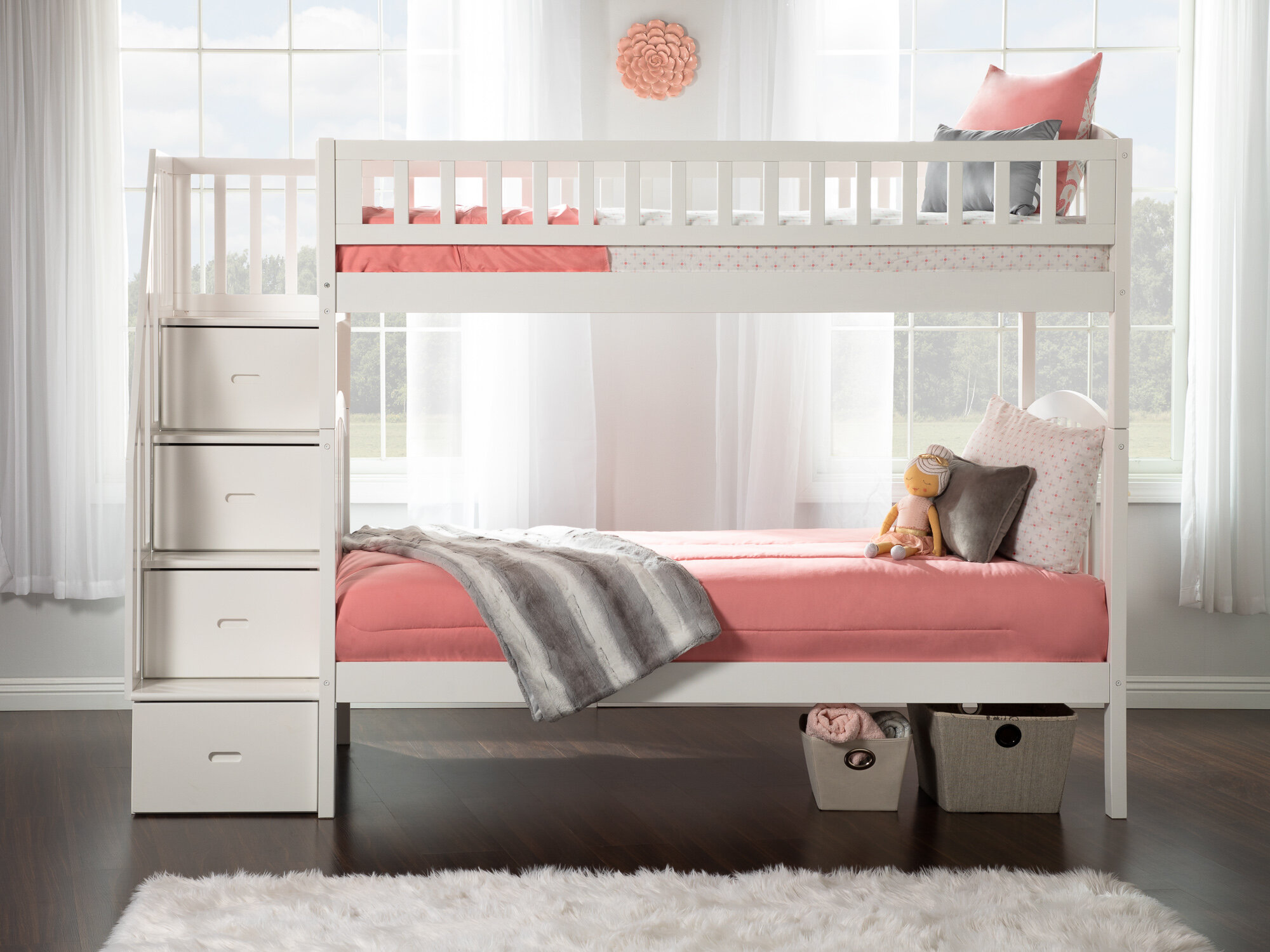 Harriet Bee Salem Staircase Twin Over Twin Bunk Bed With Drawers Reviews Wayfair