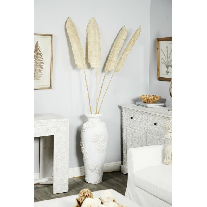 Avila Tall Rustic Palm Leaf And Bamboo Decor Fan Vase Fillers Sculpture