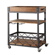 Torrance Kitchen Cart With Wooden Top