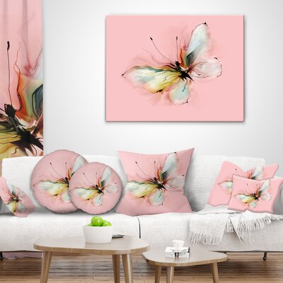 East Urban Home Floral Colorful Butterfly Drawing Throw Pillow | Wayfair