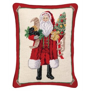 Santa and Puppy Needlepoint Lumbar Pillow
