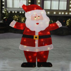 Lighted Jolly Santa Claus Outdoor Christmas Yard Art Decoration