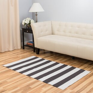 Buy clear Hand-Loomed Charcoal/White Area Rug By Harbormill