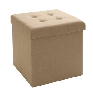 Tufted Foldable Storage Cube Ottoman