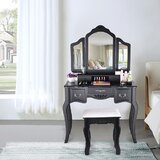 Vanity Beauty Station Makeup Table And Wooden Stool 3 Mirrors And 5 Drawers Set by Rosdorf Park