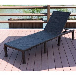 Cavin Adjustable Wicker Chaise Lounge with Cushion