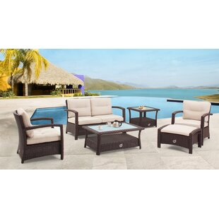Farrar 6 Piece Rattan Sofa Seating Group with Cushions