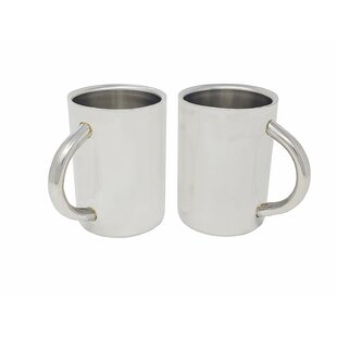 Burse Double Wall Air Insulated 17 oz. Stainless Steel Mugs (Set of 2)
