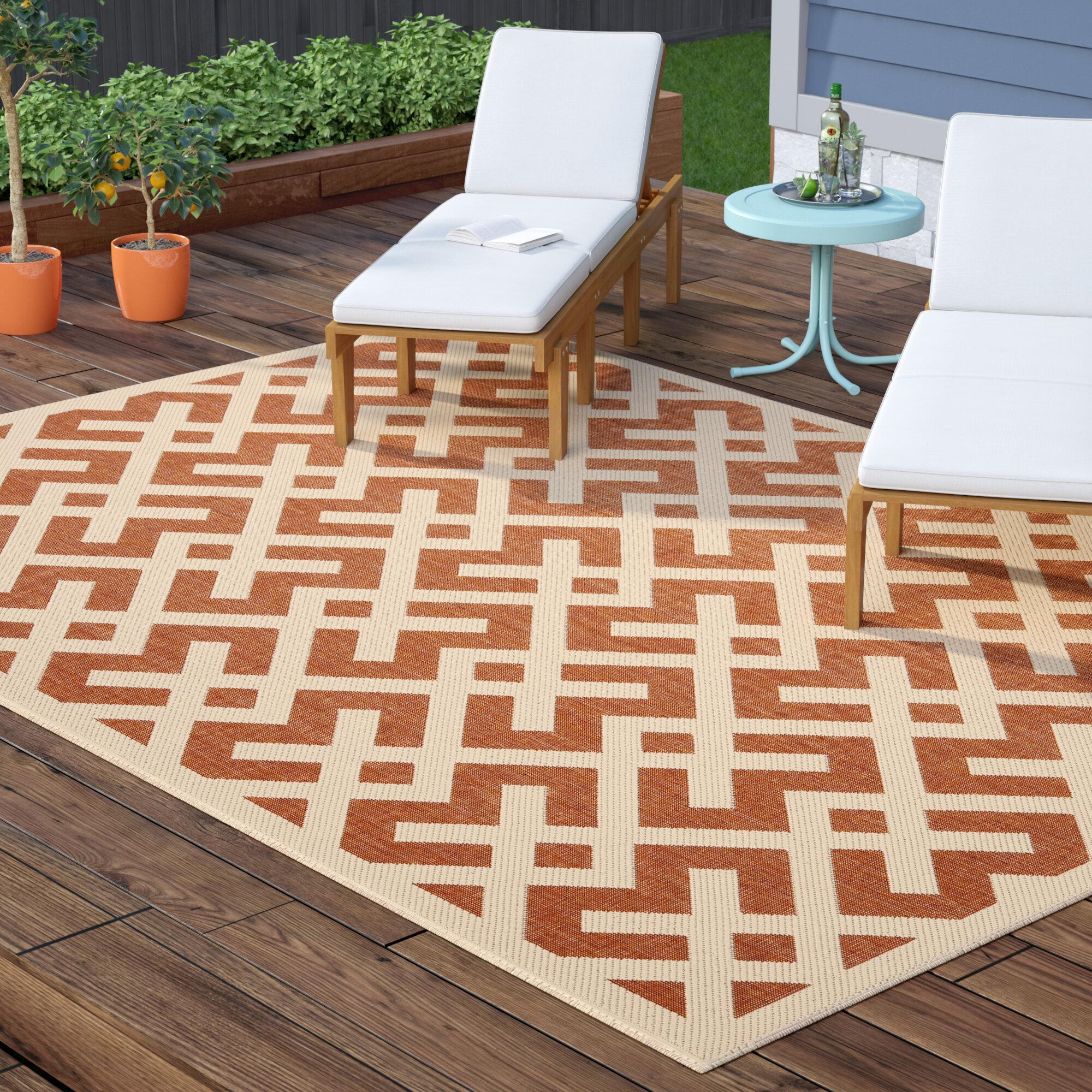 Wrought Studio Sherree Geometric Terracotta Bone Indoor Outdoor Area Rug Reviews Wayfair
