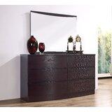 Carrabelle 6 Drawer Double Dresser with Mirror by Brayden Studio®