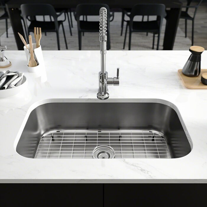 Stainless Steel 32 L X 19 W Single Basin Undermount Kitchen Sink With Additional Accessories