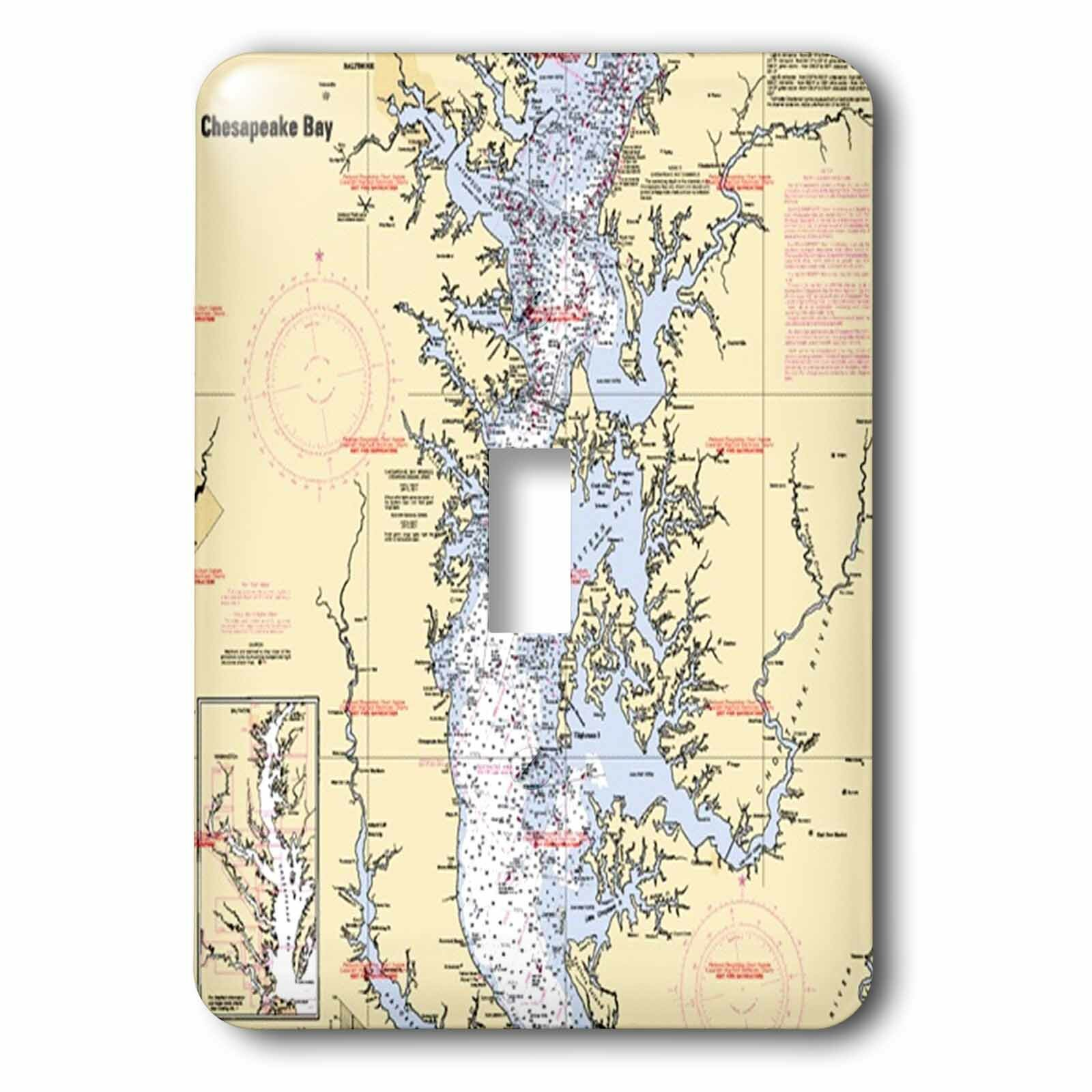 3drose Chesapeake Bay Nautical Chart 1 Gang Toggle Light Switch Wall Plate Wayfair