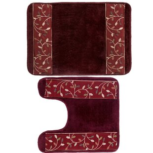 Aubury Leaf Banded 2 Piece Bath Rug Set
