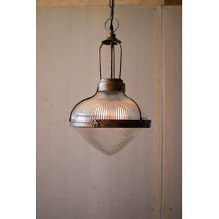 Gracie Oaks Luxora 1-Light Schoolhouse Pe..