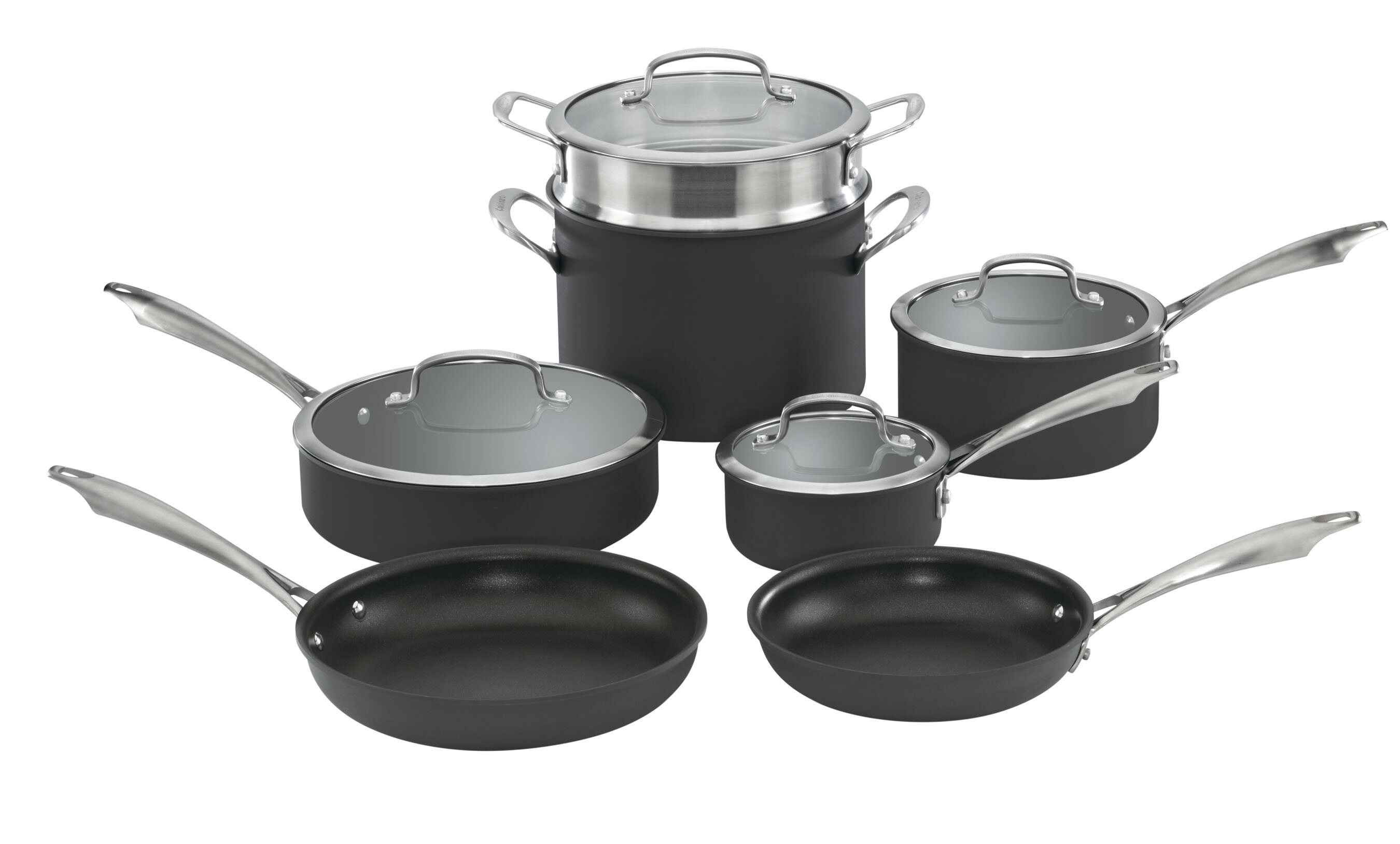 Cookware Set Stainless Steel Kitchen Pots Pans Dishwasher Safe Aluminum Nonstick