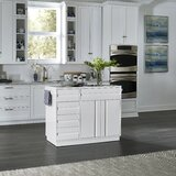 Emblyn Kitchen Island with Glass Top by Latitude Run