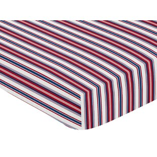 Price comparison Baseball Patch Stripe Print Fitted Crib Sheet By Sweet Jojo Designs