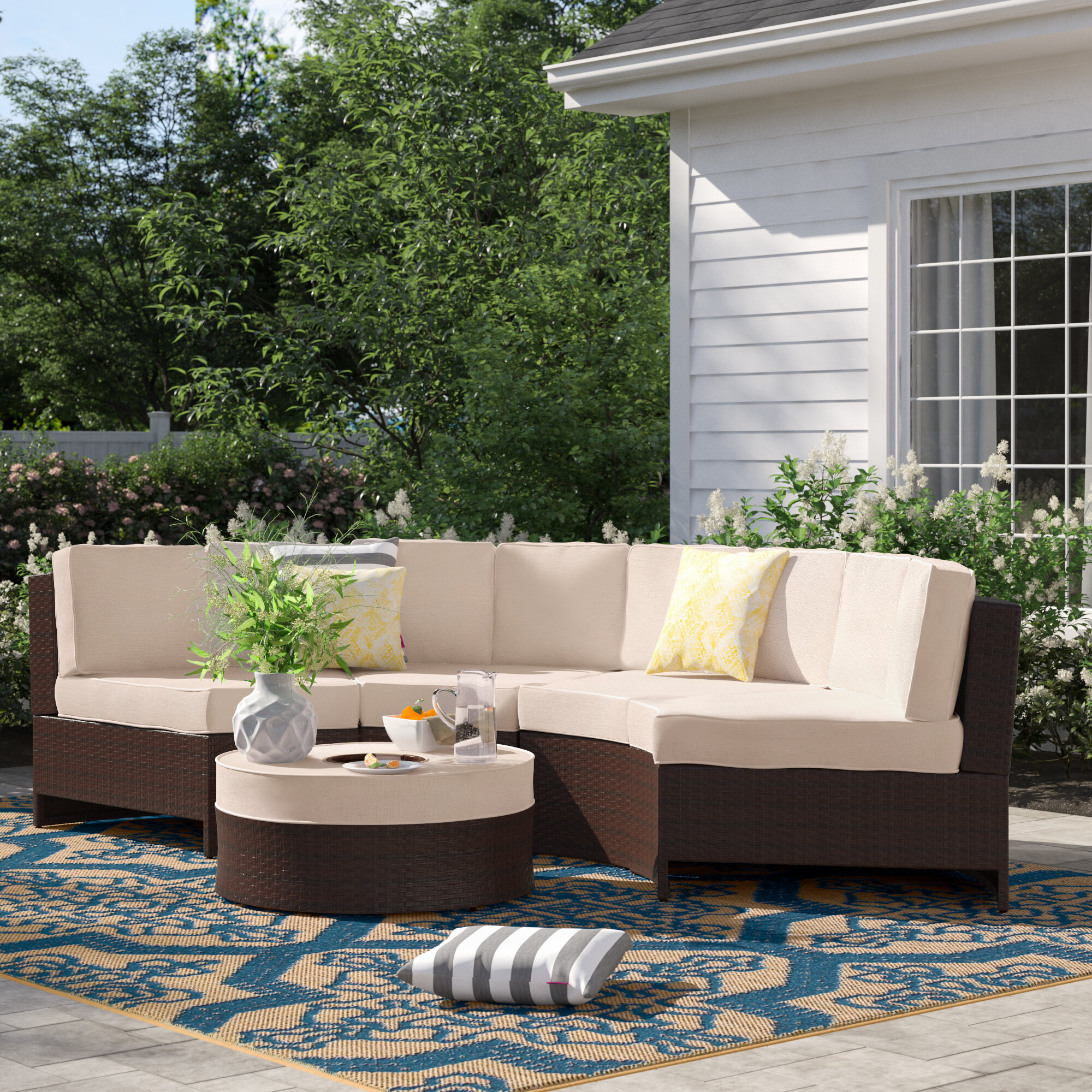 Sol 72 Outdoor Bermuda 5 Piece Rattan Sectional Seating Group With Cushions Reviews Wayfair