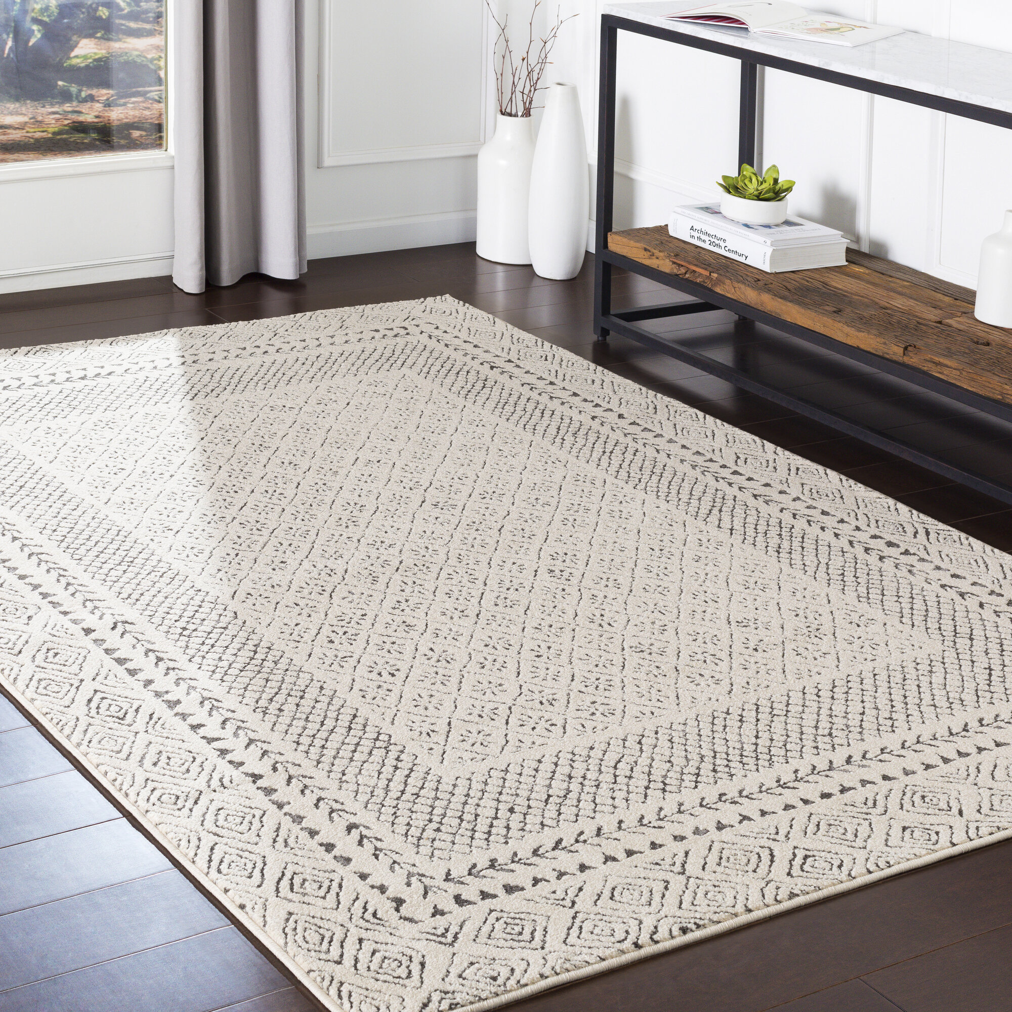 Union Rustic Calvo Oriental Gray Area Rug Reviews Wayfair