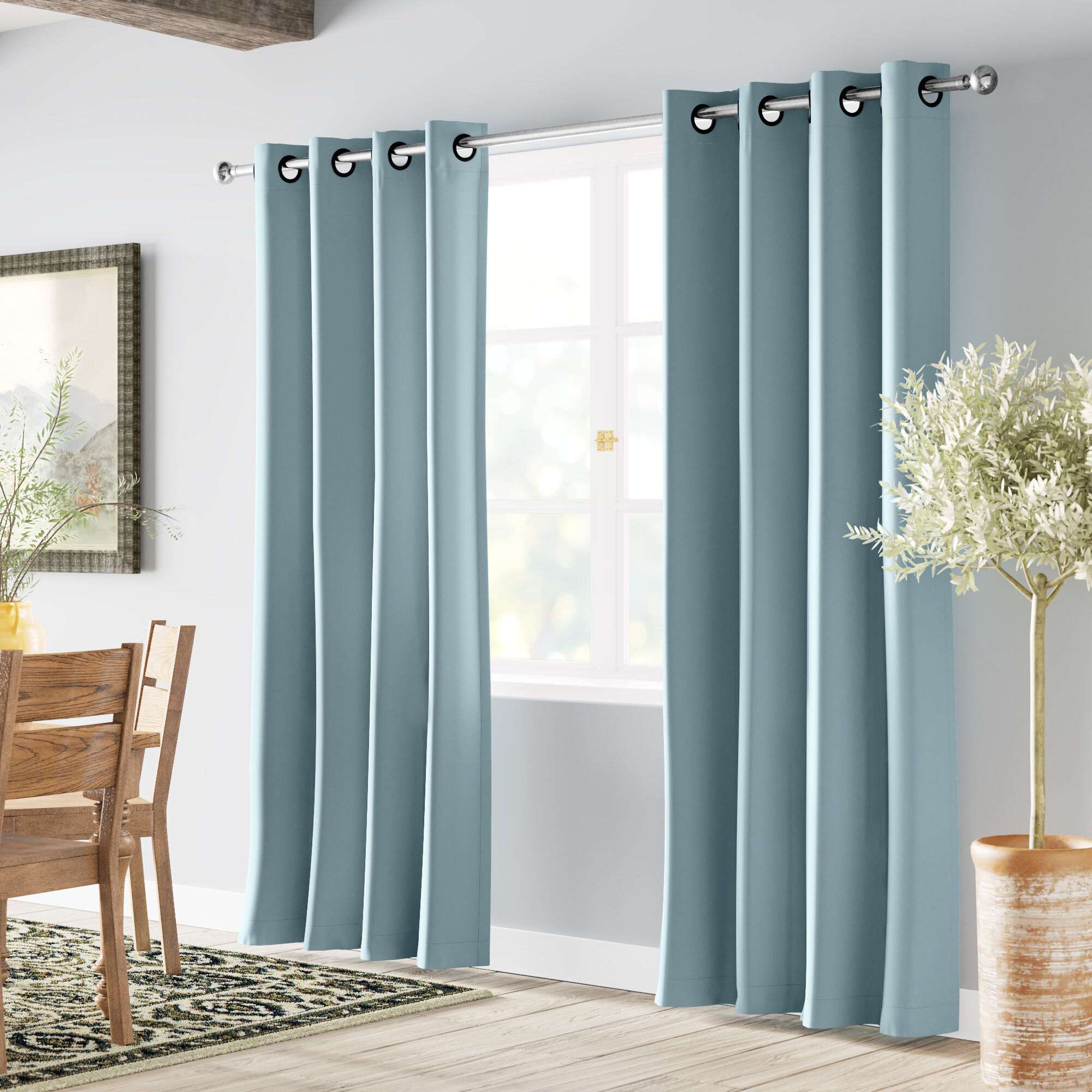 Grommet Panels 52 By 108 Inch Set Of 2 Turquoize Black Extra Long Curtains For Patio Door Thermal Insulated Blackout Window Treatment Panels For Sliding Glass Door Energy Saving Curain Draperis Home