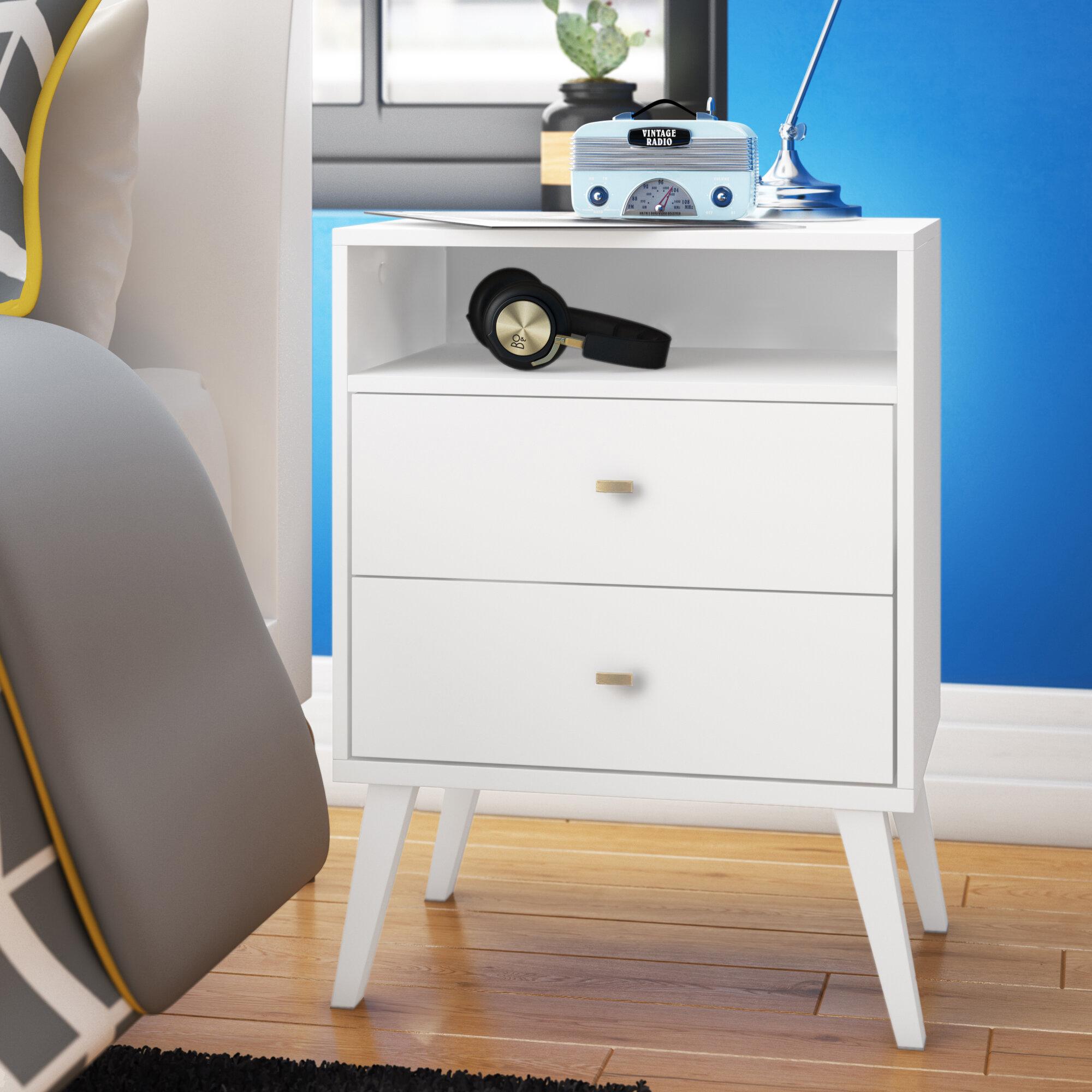 Mercury Row Alyssa Mid Century Modern 2 Drawer Nightstand Reviews Wayfair