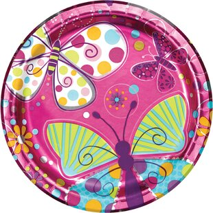 Foil Butterfly Paper Plates (Set of 24)