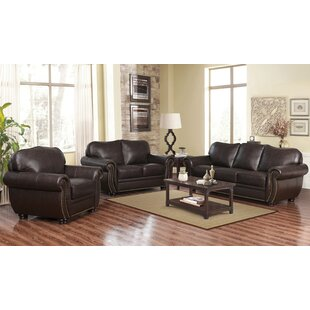 Hotchkiss 3 Piece Leather Living Room Set by World Menagerie