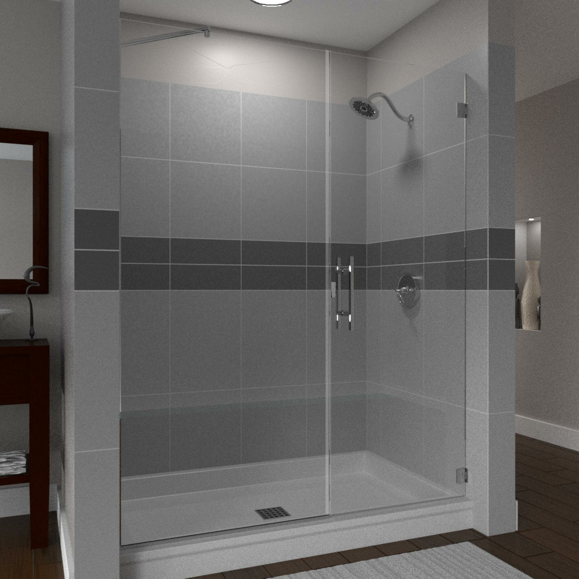 Scottsdale 35 X 72 Hinged Frameless Shower Door With Invisible Shield By Clean X