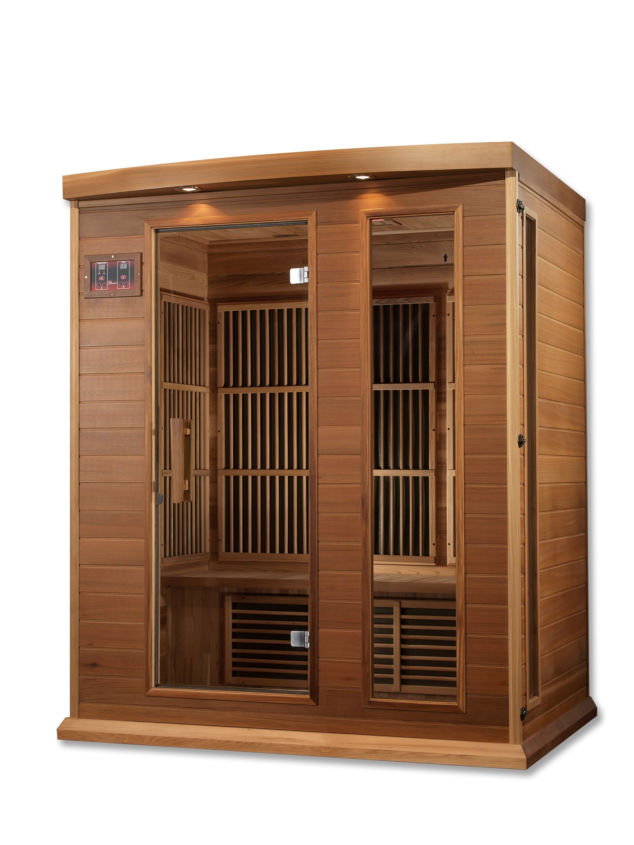 Dynamic Infrared Luxury Series 3 Person FAR Infrared Sauna & Reviews on grocery store lighting ideas, terrace lighting ideas, room lighting ideas, clubhouse lighting ideas, balcony lighting ideas, yoga studio lighting ideas, custom home lighting ideas, boat lift lighting ideas, bath lighting ideas, spa lighting ideas, bbq lighting ideas, elegant bathroom lighting ideas, police lighting ideas, wood deck lighting ideas, security lighting ideas, gym lighting ideas, solarium lighting ideas, sauna flooring, roof deck lighting ideas, beachfront lighting ideas,