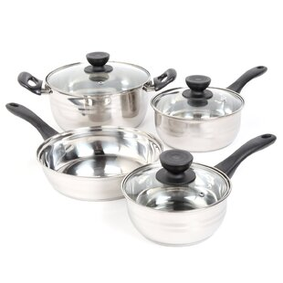 Sunbeam 7 Piece Alvordton Non-Stick Stainless Steel Cookware Set