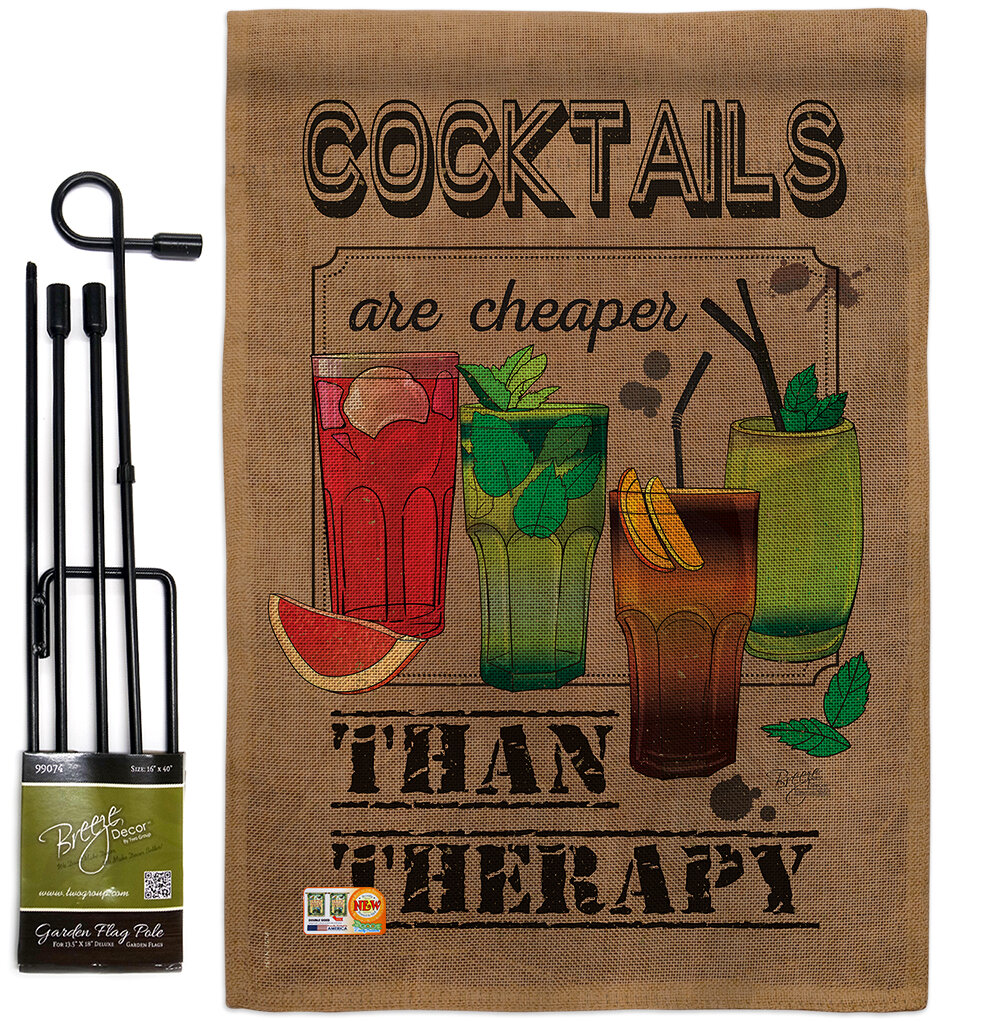 Breeze Decor Cocktails Are Cheaper Happy Hour And Drinks Wine Impressions 2 Sided Polyester 19 X 13 In Flag Set Wayfair