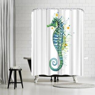 East Urban Home Sam Nagel Seahorse Green Shower Curtain