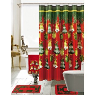 Christmas Bathroom Decor 18 Piece Red/Green Shower Curtain Set