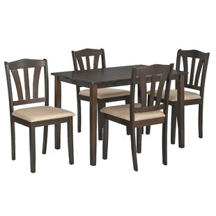 Corlissa 5 Piece Solid Wood Dining Set by Red Barrel Studio
