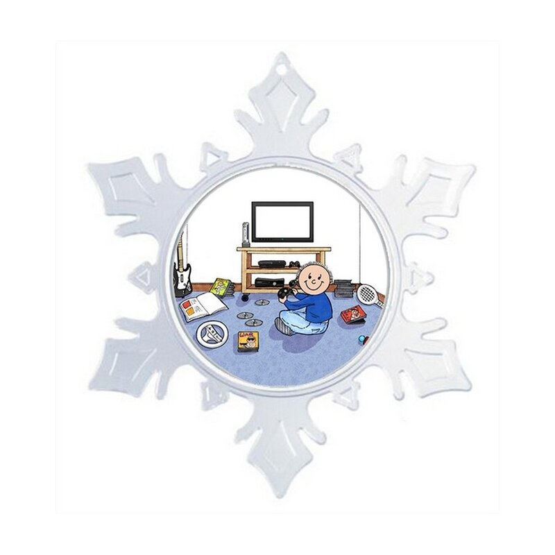 The Holiday Aisle Personalized Friendly Folks Cartoon Snowflake Video Gamer Christmas Holiday Shaped Ornament Wayfair