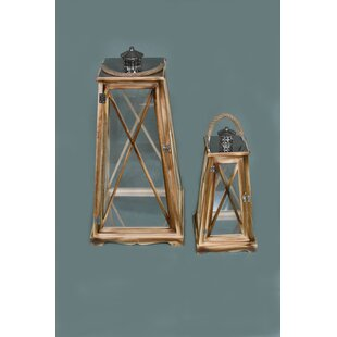 2 Piece Glass/Wood Lantern Set