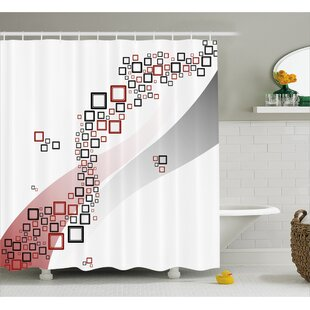 Shonnard Square Wavy Shapes Shower Curtain + Hooks