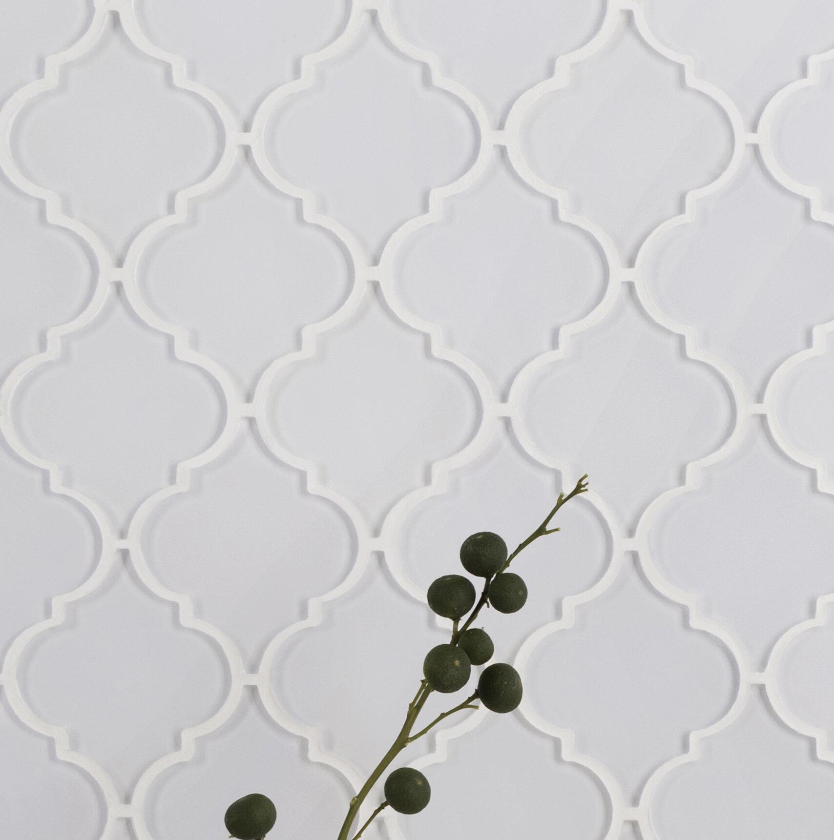 Ws Tiles Water Jet Series 3 5 X 4 25 Gl Mosaic Tile In White Reviews Wayfair