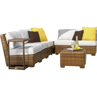 Panama Jack Outdoor St Barths 8 Piece Sunbrella Sectional Set with Cushions