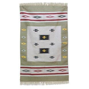 Look for Regis Hand-Woven Wool Beige/White Area Rug ByBloomsbury Market