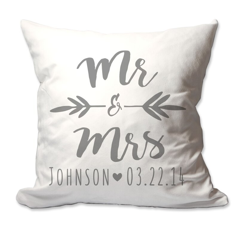 Personalized Brush Script Mr. & Mrs. Throw Pillow